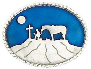 Praying Cowboy Oval Belt Buckle (Made In The USA)