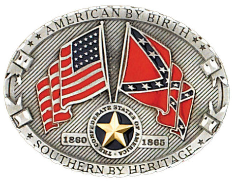 """American By Birth Southern By Heritage"" Belt Buckle (Made In The USA)"