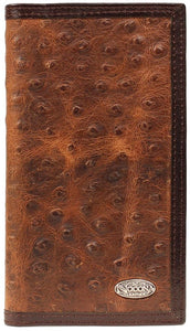 """Nocona"" Western Ostrich Print Leather Brown Rodeo Wallet/Checkbook Cover"