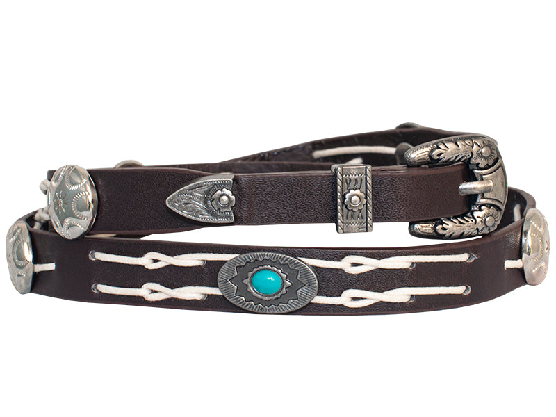 Chocolate Hatband with Silver Conchos and Turquoise Stone - Adjustable - Made in the USA!