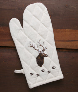 """Elk"" 100% Cotton Embroidered Oven Mitt"