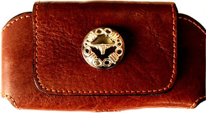 "Western Tan Leather Cell Phone Holder with Longhorn Concho for Phones up to 5-1/4"" Tall"