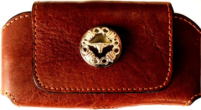 Western Tan Leather Cell Phone Holder with Longhorn Concho for Phones up to 5-1/4