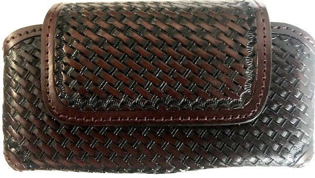 Western Brown Basketweave Leather Cell Phone Holder for Phones up to 5-1/4