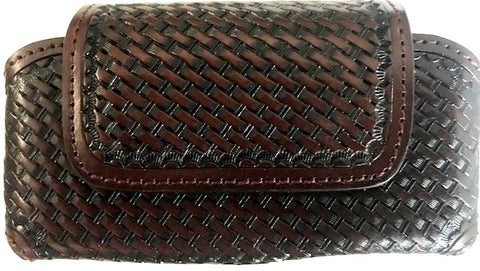 Western Brown Basketweave Leather Cell Phone Holder for Phones up to 5-1/4""