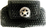 Western Tan Basketweave Leather Cell Phone Holder with Silver Texas Star Concho