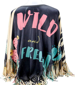 """Wild and Free"" Poncho - Black"