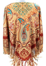 Load image into Gallery viewer, Aztec Paisley Poncho - Tan