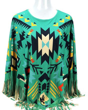 "Load image into Gallery viewer, ""Aztec"" Western Poncho - Turquoise"