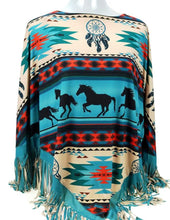 "Load image into Gallery viewer, ""Aztec Horse"" Western Poncho - Turquoise"