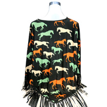 "Load image into Gallery viewer, ""Horse"" Western Poncho - Coffee"