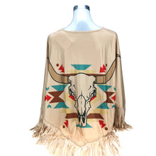 "Load image into Gallery viewer, ""Steer Skull"" Western Poncho"