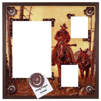 3 Photo Western Tin Picture Frame