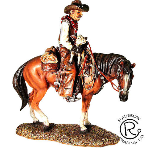 Riding Cowboy with Calf Sculpture