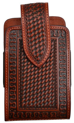Western Tan Leather Large Cell Phone Holder (iPhone 7/8)