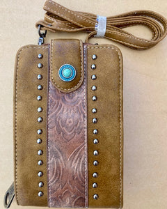 Cell Phone Wallet /Crossbody with Turquoise Stone