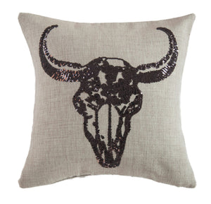 Cow Skull Pillow - 18""