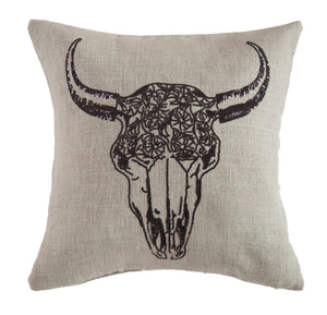 Flower Pattern Cow Skull Pillow - 18""