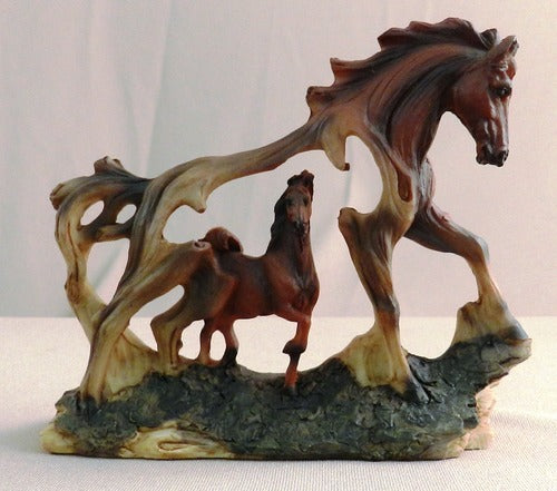 Horse in Horse Wood-Like Carved Figurine