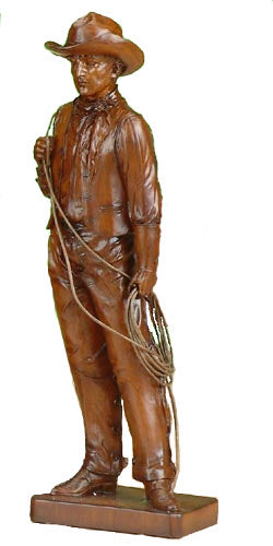 Cowboy Wood Looking Sculpture with Lasso - 9