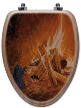 "Load image into Gallery viewer, ""Evening Campfire"" Oak Toilet Seat"
