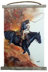 "Hell Bent for Leather Canvas Wall Scroll 18"" x 25"""