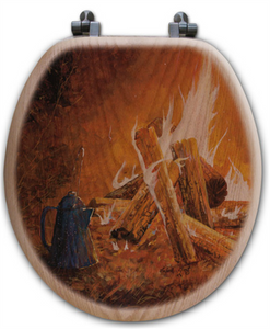 """Evening Campfire"" Oak Toilet Seat"