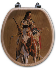 "Load image into Gallery viewer, ""Ghost of the Plains "" Oak Toilet Seat"