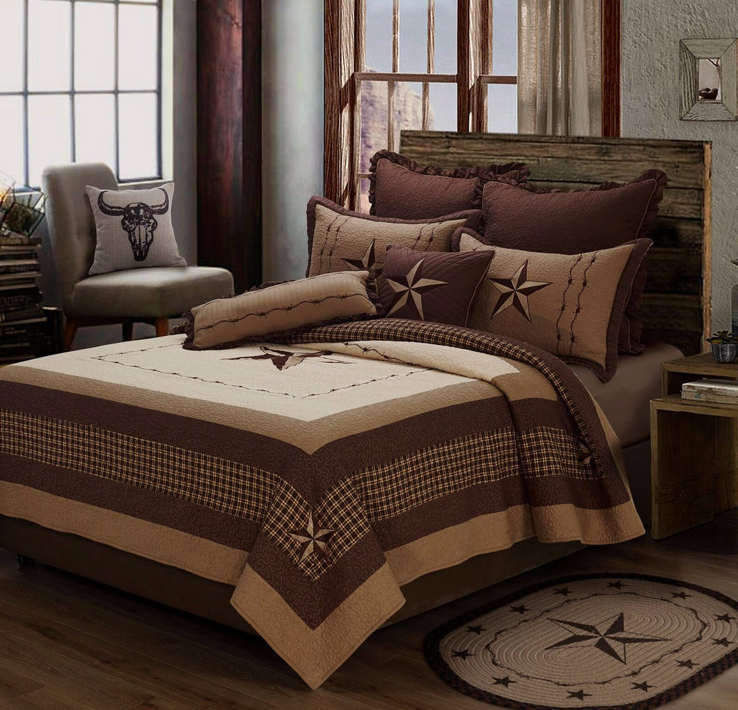Lone Star Embroidered Quilt Set