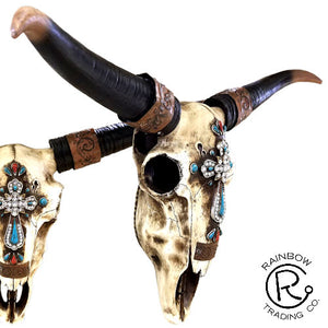 Cow Skull with Diamond Cross Wall Plaque