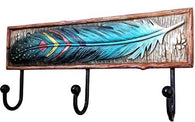 3 Hook Coat Rack with Feather