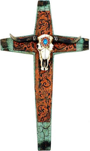 "Cow Skull  Scrolled Wall Cross - 20"" Tall"