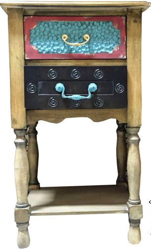 Western Double Drawer Antique Table/Night Stand