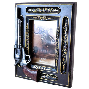 "Revolver Photo Frame with Gold Pattern - 4"" x 6"""