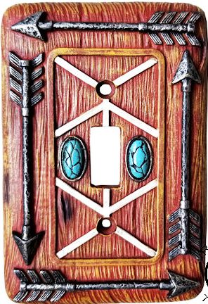 Southwestern Arrow Single Switch Cover with Turquoise Stones