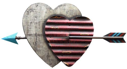 Double Heart Corrugated Metal and Wood with Arrow Plaque