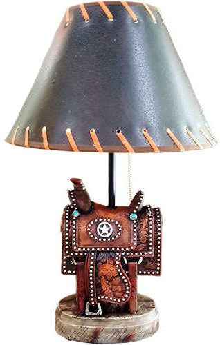 Western Saddle Table Lamp with Texas Star