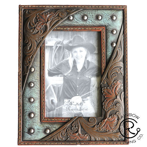Western Turquoise w/Nail and Tooled Leather Look Photo Frame - 4