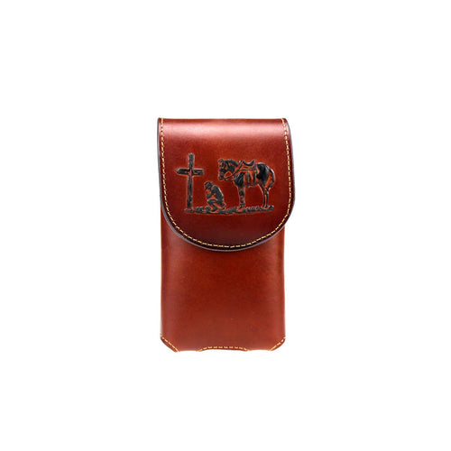Praying Cowboy Genuine Leather Belt Loop Holster Cell Phone Case - Choose From 3 Colors!
