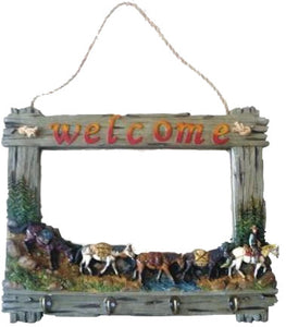 """WELCOME"" Wall Mirror with 4 hooks"