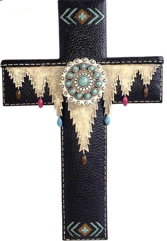 Black Silver Turquoise Stone Concho Resin Texture Wall Cross 11.5""
