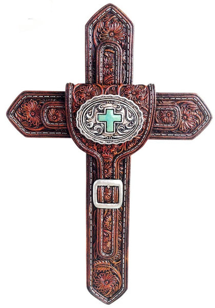 Western Saddle Belt Tooled Cross with Turquoise Cross Stone
