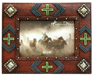 Western Beaded and Multi Crosses Resin Texture Brown Color Photo Frame
