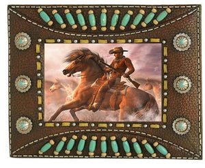 Western Indian Beaded Resin Photo Frame - Brown