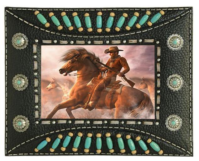 Western Indian Beaded Resin Photo Frame - Black