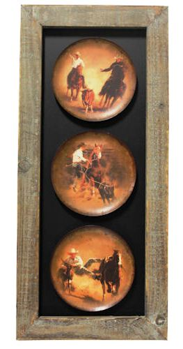 Western Triple Rodeo Scene with Wood Frame