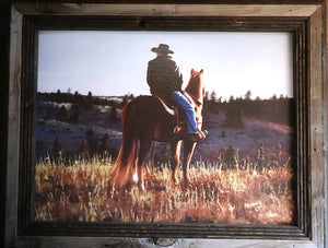 """Roll Call"" Western Canvas Print with Reclaimed Barn Wood Frame"