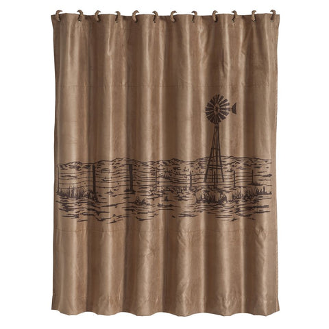 Windmill Landscape Western Embroidered Shower Curtain Wild West Living