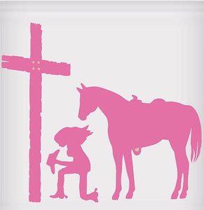 "Praying Cowgirl Sticker - 5"" x 5"""