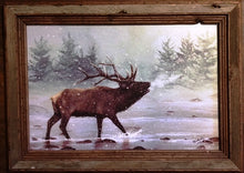 "Load image into Gallery viewer, ""Snow Elk"" Western Canvas Print with Reclaimed Barn Wood Frame"